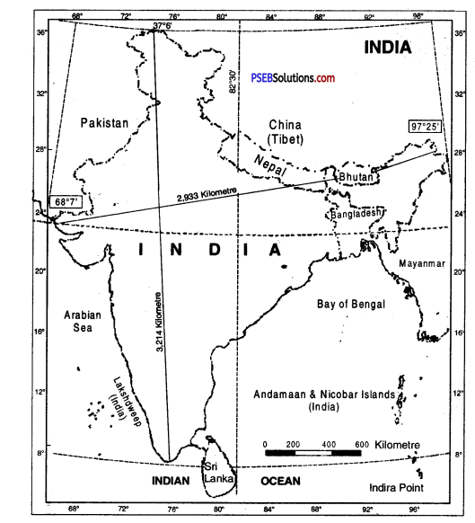 PSEB 9th Class SST Solutions Geography Chapter 1a India Size and Location 1