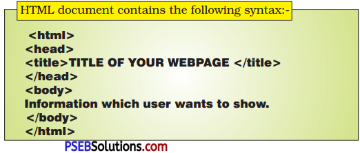 PSEB 10th Class Computer Science Solutions Chapter 2 HTML Fundamentals 2